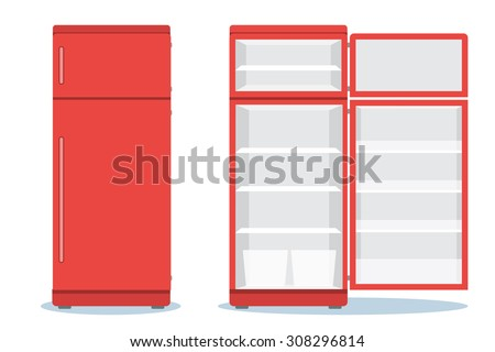 Refrigerator opened. Fridge Open and Closed. Refrigerator red - stock vector
