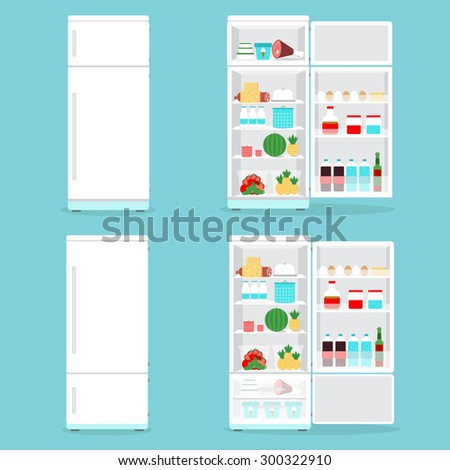 Refrigerator opened with food.Fridge Open and Closed with foods set - stock vector