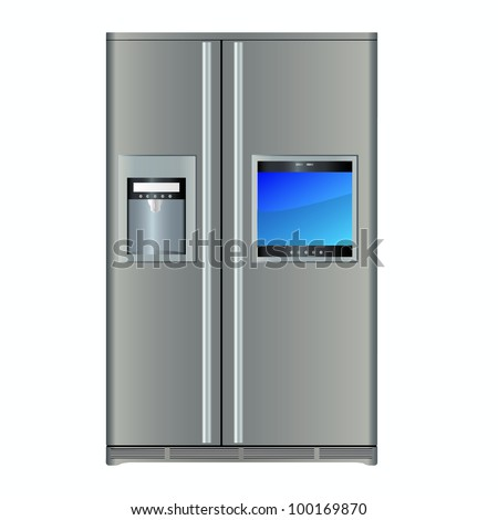 Refrigerator with built-in TV - stock vector