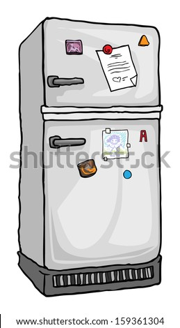Refrigerator, with notes and magnets on it, vector illustration - stock vector