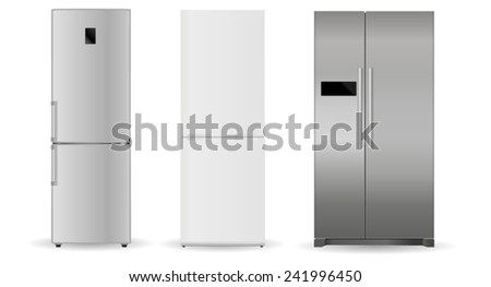 Refrigerators - silver, white, with two doors - stock vector