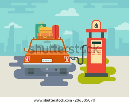 Refuel car at gas station concept flat illustration - stock vector