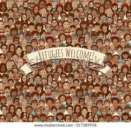 Refugees Welcome! Tileable background pattern of hand drawn faces with removable banner - stock vector