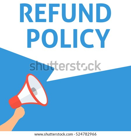 Refund Policy Announcement Hand Holding Megaphone Stock Vector