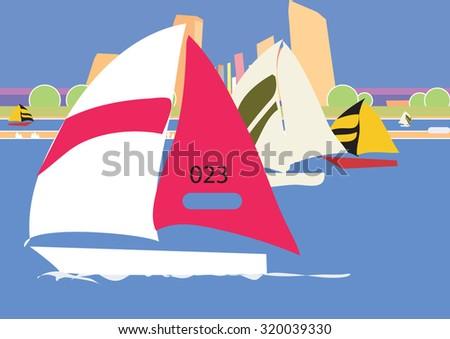 Regatta, sailing race. Vector - stock vector