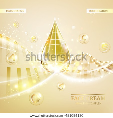 Regenerate face cream and Vitamin complex concept. Shining golden essence droplet. Vitamin E drop in form of sphere. Beauty skin care design over golden backdrop. Vector illustration.