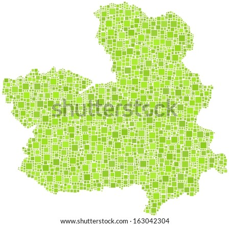 Region of Castile - La Mancha - Spain - in a mosaic of green squares. A number of 3645 little squares are accurately inserted into the mosaic. White background. - stock vector