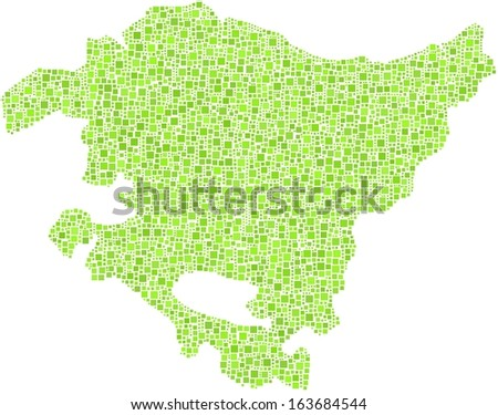 Region of The Basque Country in a mosaic of green squares. A number of 4228 little green squares are accurately inserted into the mosaic. White background.  - stock vector