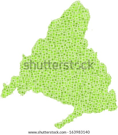 Region of the Community of Madrid in a mosaic of green squares. A number of 5275 little green squares are accurately inserted into the mosaic. White background.