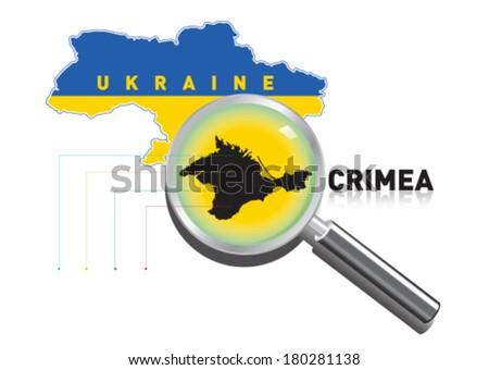 Regional map of Crimea in Ukraine - stock vector
