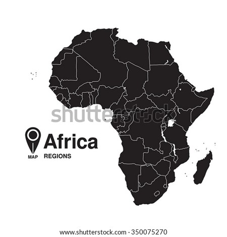Regions map of Africa - stock vector