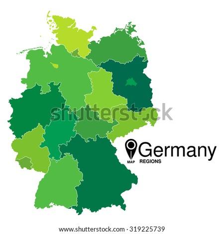 Regions Map Germany Deutschland Map Stock Photo Photo Vector