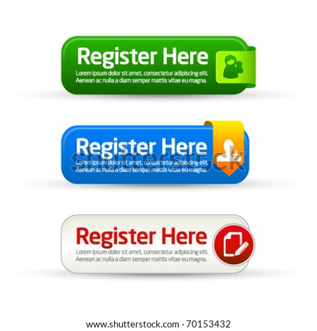 Register here modern button templates - stock vector