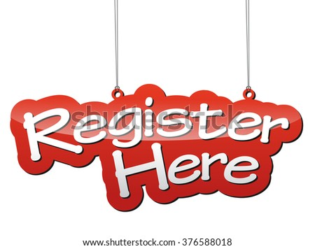 register here, red vector register here, background register here, tag register here, element register here, illustration register here, sign register here, design register here, picture register here - stock vector