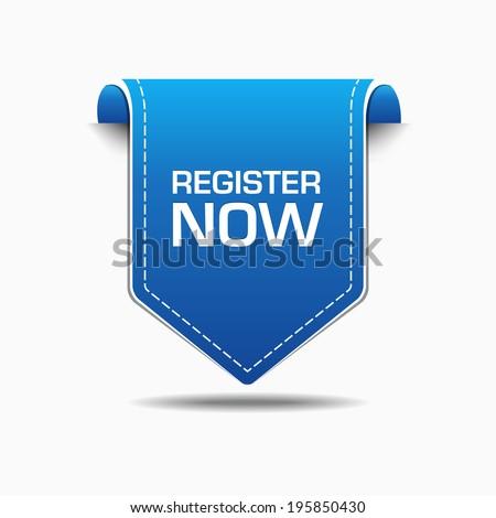 Register Now Blue Label Icon Vector Design - stock vector