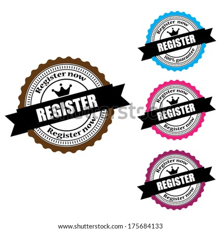Register Now Labels, Stamps, Sticker and Tag set  isolated on white background - Vector.