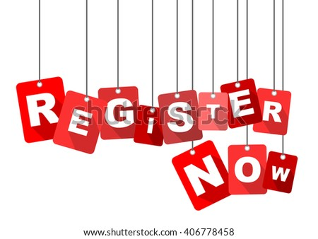 register now, red vector register now, flat tag register now, element register now, sign register now, design register now, background register now, illustration register now, register now eps10 - stock vector