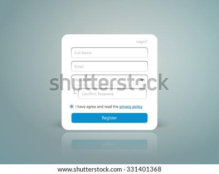 register registration member form ui gui user interface  - stock vector