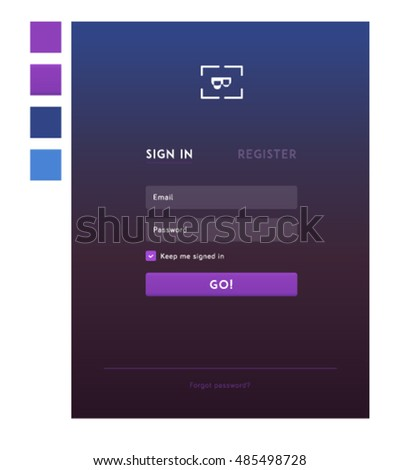 Register sign up sign in interface form on violet with gradient background, opacity fields and color scheme
