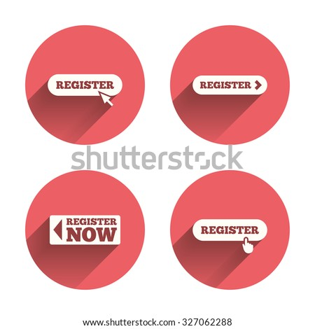 Register with hand pointer icon. Mouse cursor symbol. Membership sign. Pink circles flat buttons with shadow. Vector - stock vector