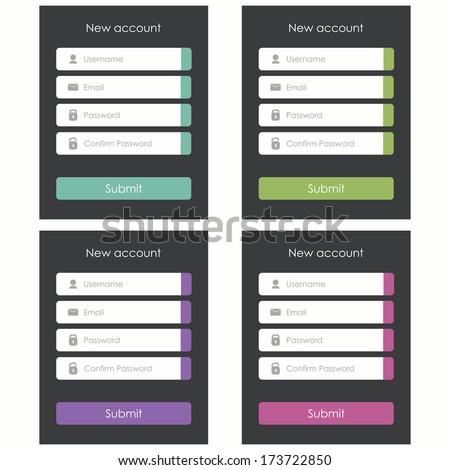 Registration form. Flat design. Template for website and mobile app. Vector illustration - stock vector