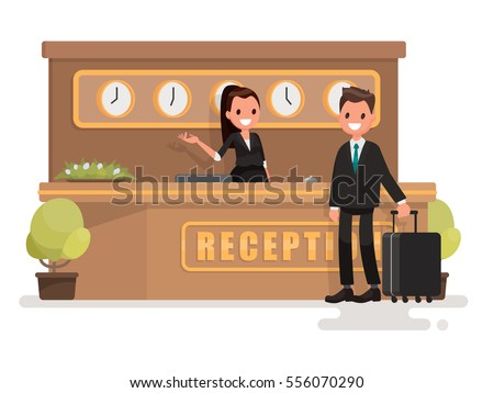 Registration of a hotel room. Businessman with a suitcase about the reception desk. Vector illustration in  flat style