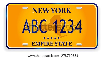 registration plates of new York - stock vector