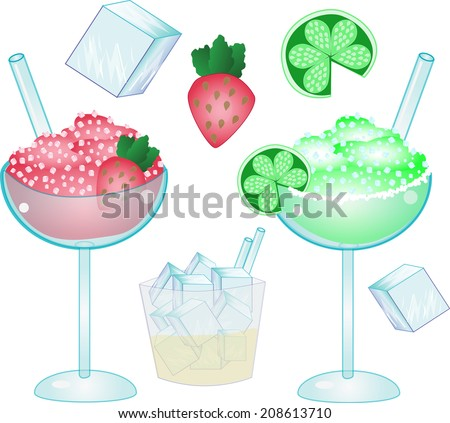 regular and strawberry margarita/Happy Drinks/Each piece is on a separate layer to create you own scene! Great for menus! - stock vector