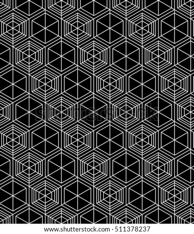 Regular contrast textured endless pattern with cubes, continuous black and white geometric background.