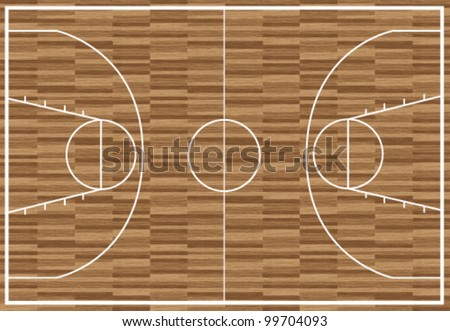 Regular wooden basketball pitch
