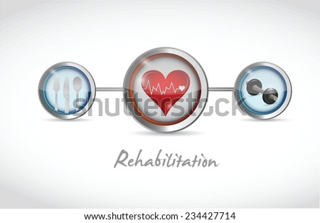 rehabilitation icons sign illustration design over a white background - stock vector