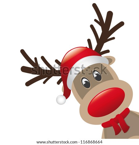 reindeer and hat scarf landscape - stock vector