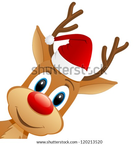 reindeer and Santa hat - vector illustration - stock vector