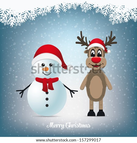 reindeer and snowman winter snowy landscape