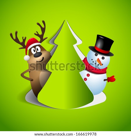 Reindeer and snowman with paper cut tree - winter theme - Merry christmas  - vector illustration - original new year card
