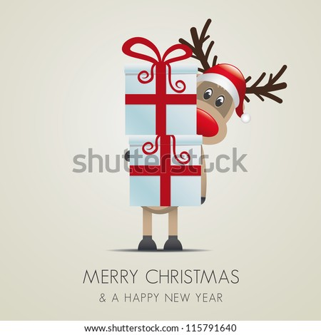 reindeer christmas gift box with red ribbon - stock vector