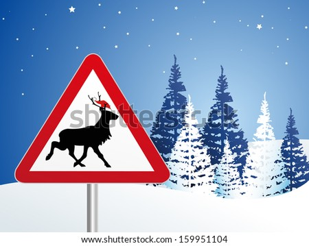 reindeer crossing - stock vector