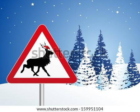 reindeer crossing - stock vector