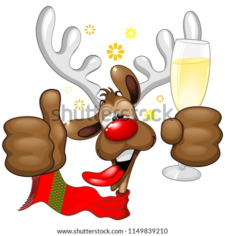 Reindeer Drunk Funny Christmas Cartoon Character