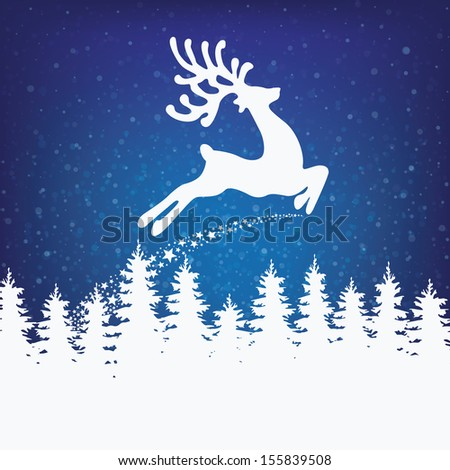 reindeer fly winter background stars and snow - stock vector