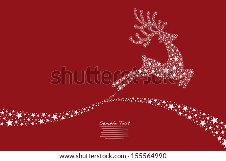 reindeer flying stars red background - stock vector