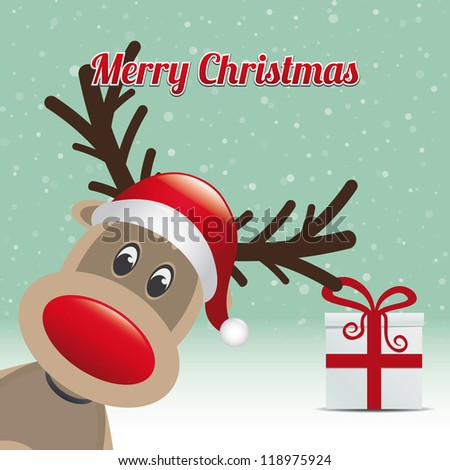reindeer gift snowy winter background merry christmas