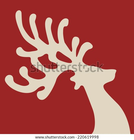 reindeer head red background - stock vector