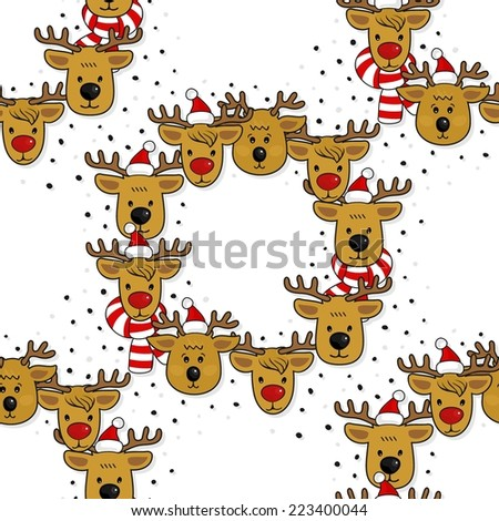 Reindeer heads in Santa Claus hats and colorful scarfs  wreath winter holidays illustration with snow dots seamless pattern on white background