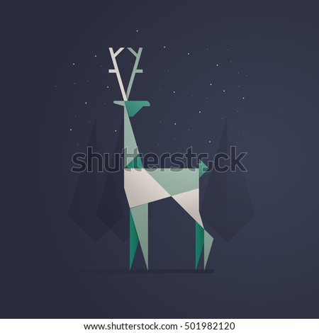 reindeer illustration, flat style vector background