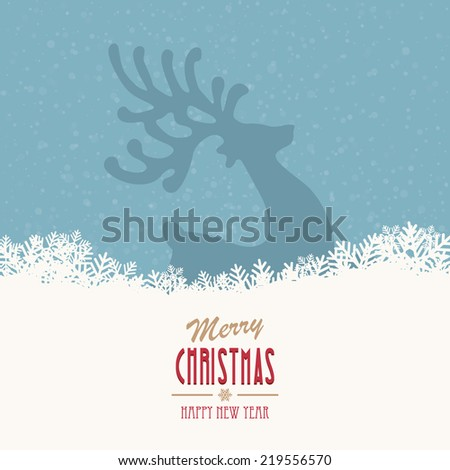 reindeer merry christmas snowy background - stock vector