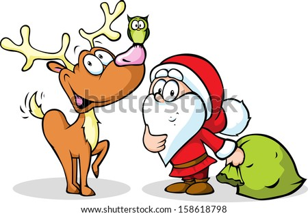reindeer, owl and santa isolated on white background - stock vector