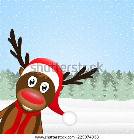 reindeer peeking side in the forest  - stock vector