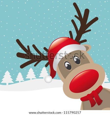 reindeer red nose and hat scarf