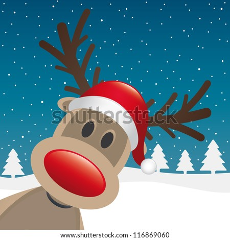 reindeer red nose and hat winter landscape - stock vector